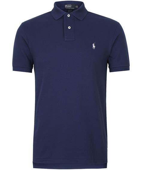 Kaos Polos Blue Navy polo ralph navy slim fit cotton polo shirt in blue