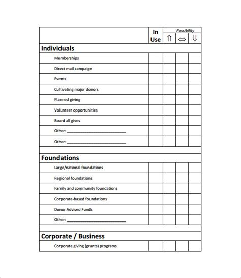 fundraising chart template sle fundraising plan 10 documents in word pdf
