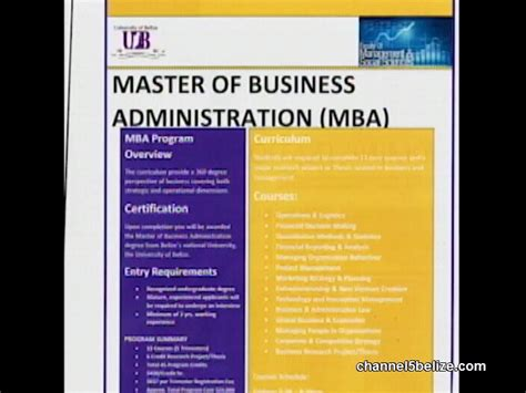 Ub Professional Mba Program by Of Belize Debuts Mba Program Channel5belize