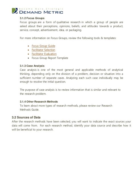 focus planning template exploratory research plan template