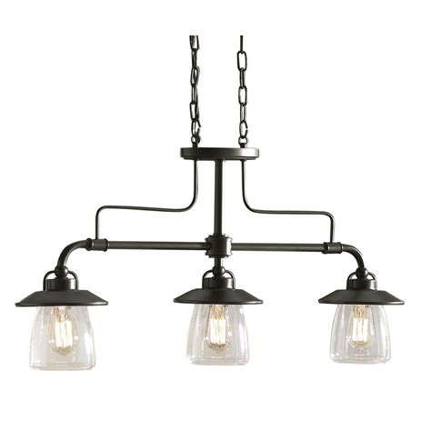 Kitchen Lighting Fixtures Lowes Shop Allen Roth Bristow 36 In W 3 Light Mission Bronze Standard Kitchen Island Light With
