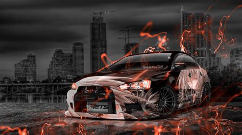 Auto Tuning Englisch by Mitsubishi Lancer Evolution X Tuning Jdm Anime City Car