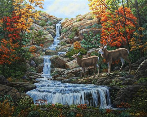 Forest Story Notebook Deer by Deer Painting Tranquil Deer Cove Painting By Crista Forest