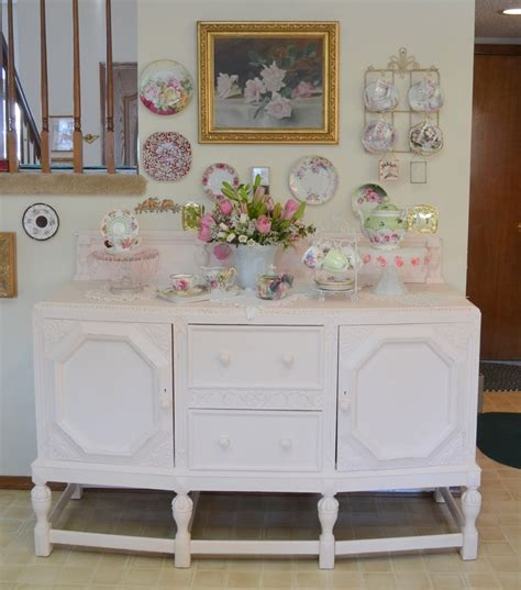 shabby chic pink and white hutch home pinterest