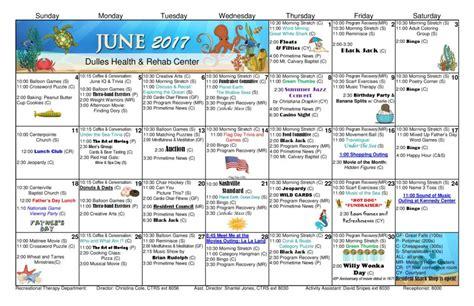 Dulles Calendar Dulles Health Rehab Center Activity Calendar June