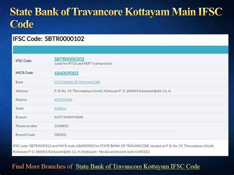 bank code of sbi state bank of travancore ifsc code