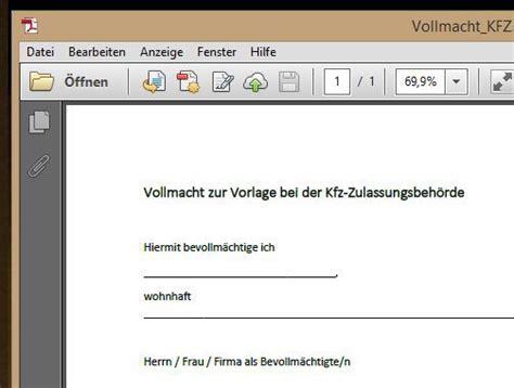Kaufvertrag Motorrad Ausland by Vollmacht Kfz Pdf Vorlage Chip