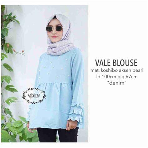 Blouse Panjang Katun Denim vale denim blouse model baju gamis terbaru