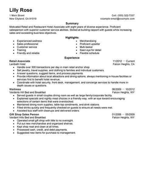 Retail Clothing Resume by Retail And Restaurant Associate Resume Exles Free To Try Today Myperfectresume
