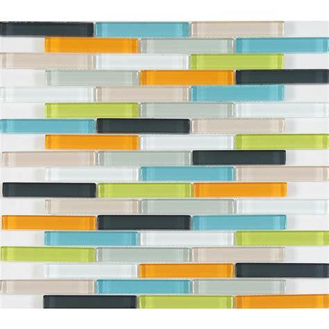 Multi Color Glass Tile Backsplash by Chenx 11 81 In X 13 58 In X 6 Mm Glass Backsplash In