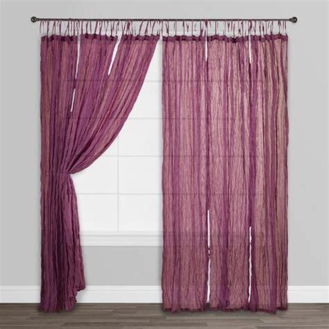 purple cotton curtains purple crinkle voile cotton curtains set of 2 world market