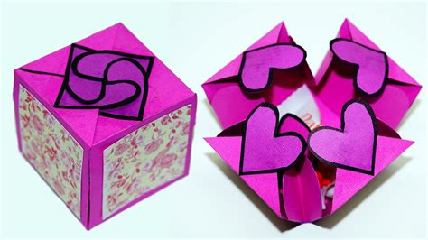 Papercraft Gifts - diy paper crafts idea gift box sealed with hearts a