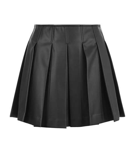 armani faux leather pleated mini skirt in black lyst