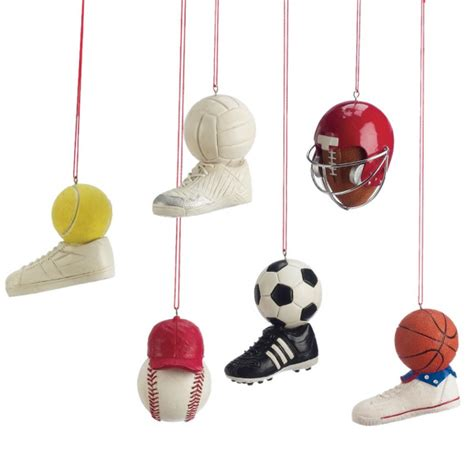 sports equipment christmas ornament set of 6