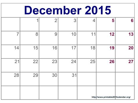 printable weekly calendar december 2015 8 best images of december 2015 calendar printable template