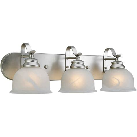 bathroom vanity lighting brushed nickel shop 3 light shandy brushed nickel bathroom vanity light