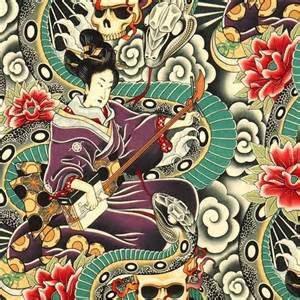Colourful alexander henry fabric japanese woman and skulls fabric
