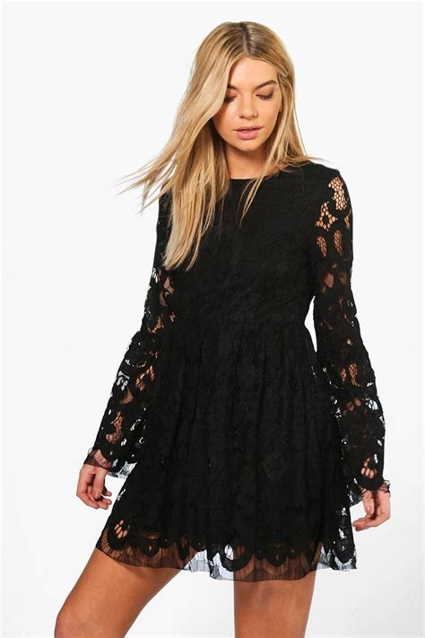 Sleeve Fit Dress boutique fi lace bell sleeve fit flare dress boohoo