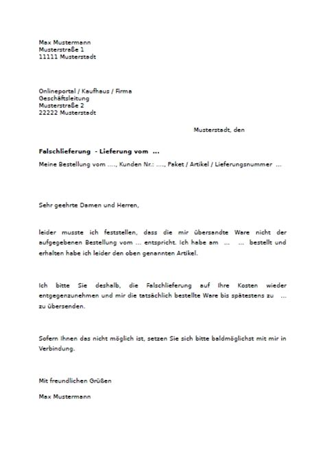Reklamation Brief B2 Muster Reklamation Wegen Falschlieferung Hier Downloaden