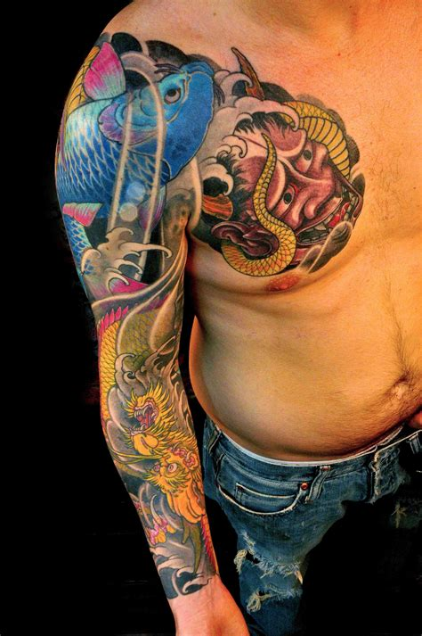 chris nunez tattoos right half sleeve japanese koi fish by chris nunez