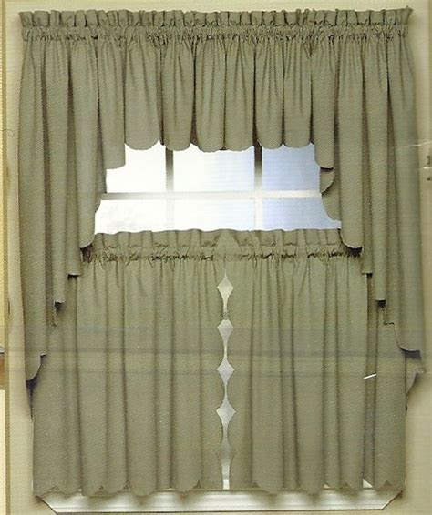 kitchen curtains swags scallop edge curtain valance tiers swag various