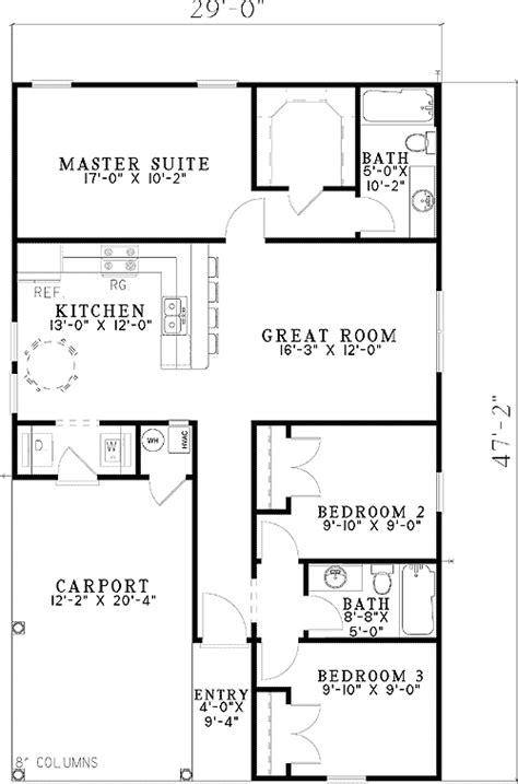 carport starter home plan 59779nd 1st floor master