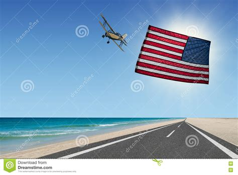 flags of the world x plane plane flying at beach with american flag stock image