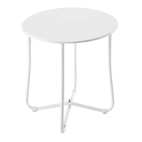 45 cm side table metal garden side table in white d 45cm capsule maisons