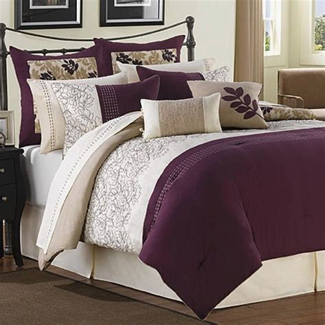 plum colored bedding ridgewood plum ivory and taupe 6 comforter set