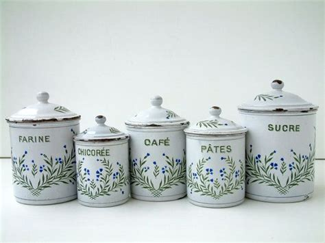 1940 s french kitchen canisters set french enamelware old french vintage enamel kitchen canister set in white