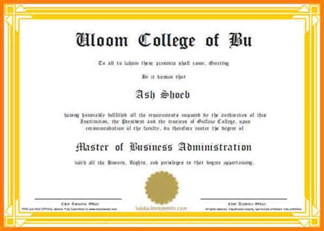 Mba Certificate Format by Scholarships Certificate Template Template Business