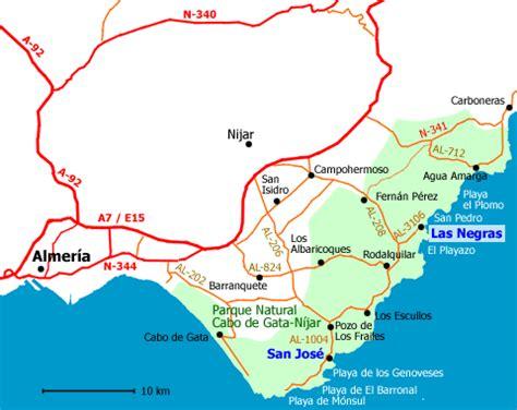mapa parque cabo de gata rutas en parque cabo de gata nijar
