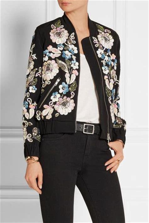 pattern recognition bomber jacket needle thread oriental garden embellished crepe bomber