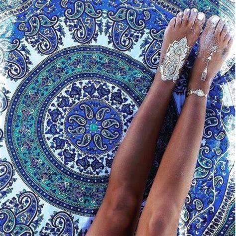 home accessory blue green boho bohemian tapestry