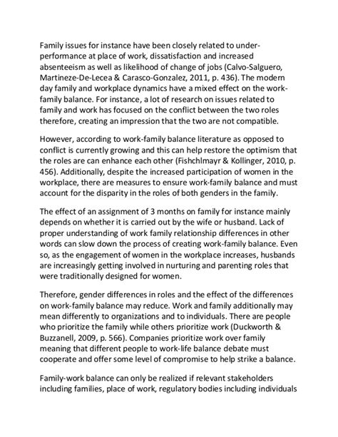 An Essay About Family by Sle Essay On Work Family Balance