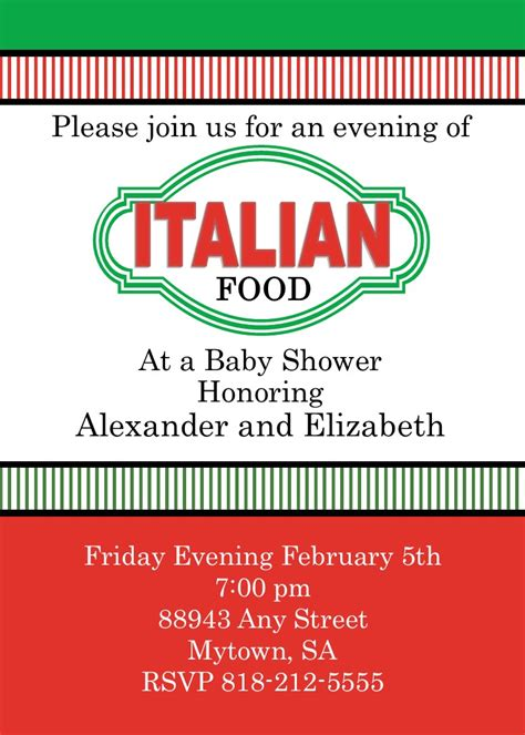 italian themed bridal shower invitations italian themed invitations mickey mouse