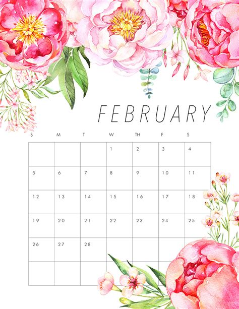 free printable watercolour flowers free printable 2017 floral calendar pretty flowers free