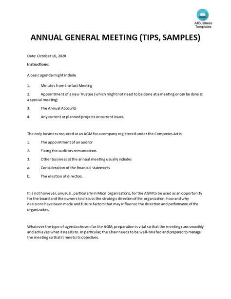 Non-Profit Annual General Meeting (AGM) Agenda template