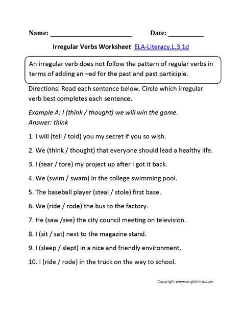 Verb Worksheets 3rd Grade by Irregular Verbs Grade 3 Worksheet 3rd Grade Common