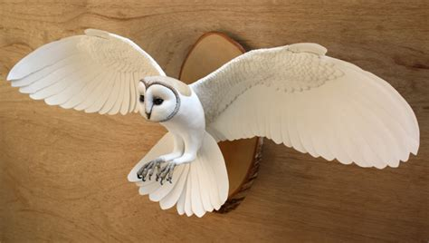 Handmade Paper Sculpture - handmade paper and wood wall mounted owl sculpture by