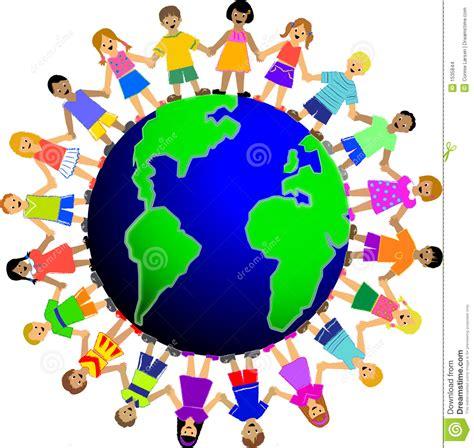 clipart mondo bambini intorno al mondo illustrazione di stock