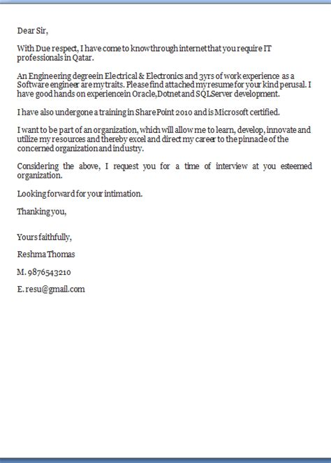Cover Letter Exles Word Format Cover Letter Template Word