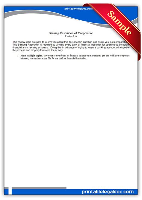 Bank Resolution Letter free printable banking resolution of corporation form generic