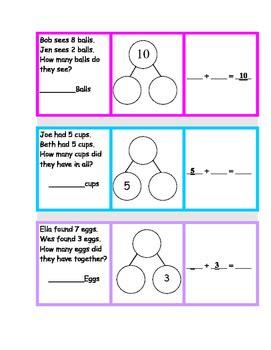 number bonds  word problem math station   hodgson tpt