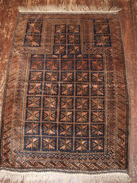 antique afghan baluch prayer rug with box design circa