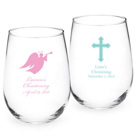 Personalized Giveaways Baptism - christening personalized stemless wine glass christening baptism favors