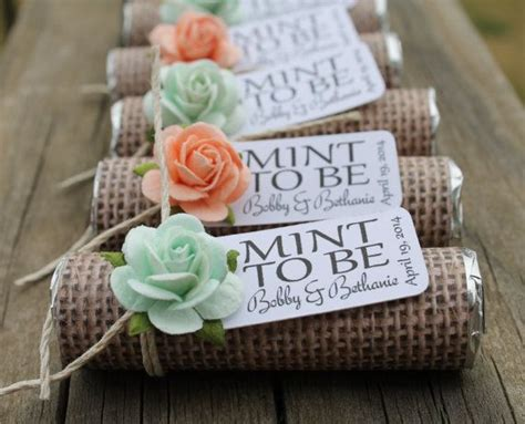 mint wedding favors set of 24 mint rolls quot mint to be quot favors with personalized tag burlap