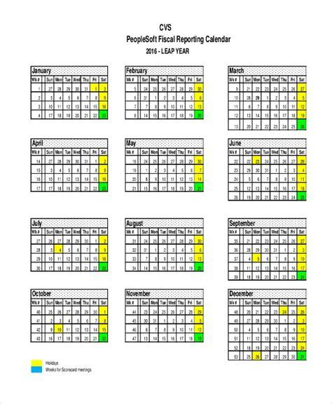 Reporting Calendar Template