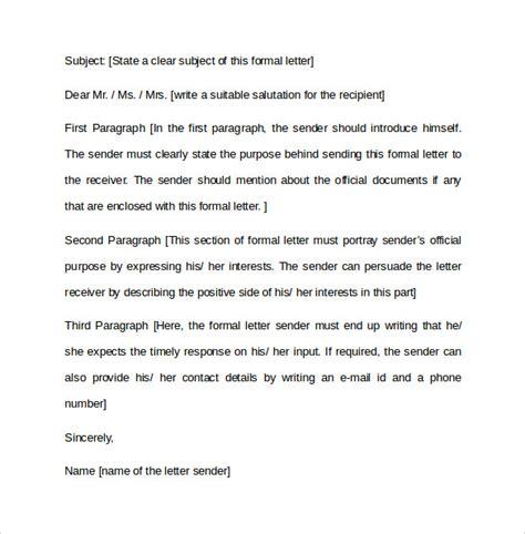 formal letter formats samples examples formats sample templates