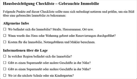 Checkliste Hausbesichtigung hausbesichtigung checkliste f 252 r eine gebrauchte immobilie